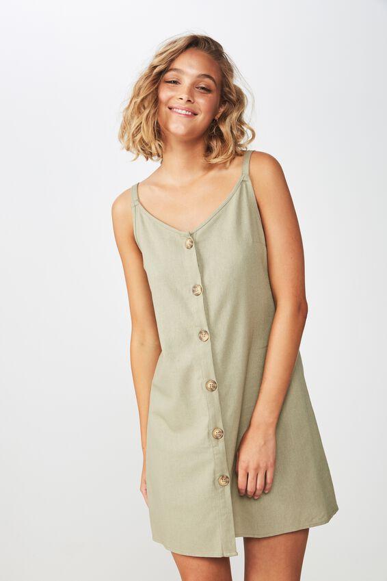 Woven Margot Slip Dress, BUTTON THROUGH SILVER SAGE