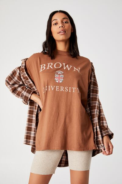 The Relaxed Boyfriend Graphic Tee, LCN BRO BROWN CREST/LEAF BROWN