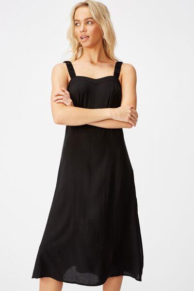 Woven Melanie Midi Slip Dress, BLACK