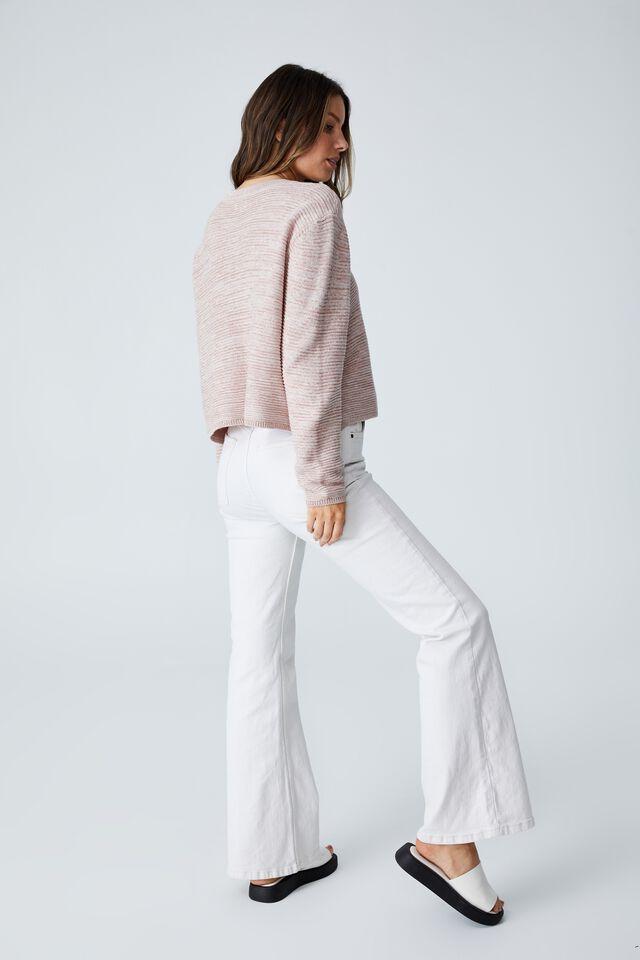 Cotton Cropped Pullover, SILVERSTONE WHITE TWIST