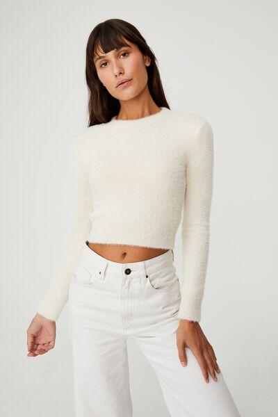 Super Luxe Fluffy Crop Pullover, TAPIOCA