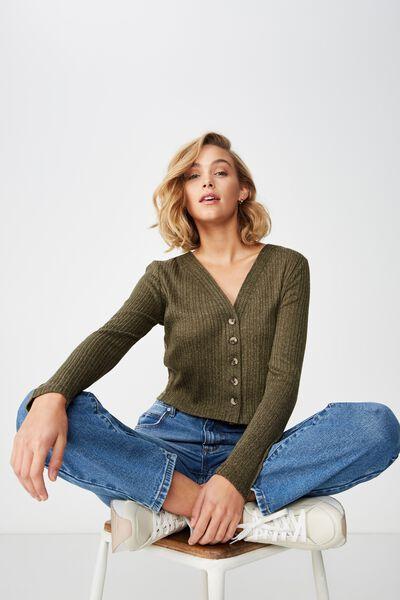 Angelina Button Through Cardi, BURNT OLIVE