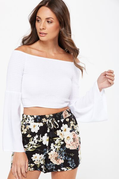 Long Sleeve Off The Shoulder Top, WHITE