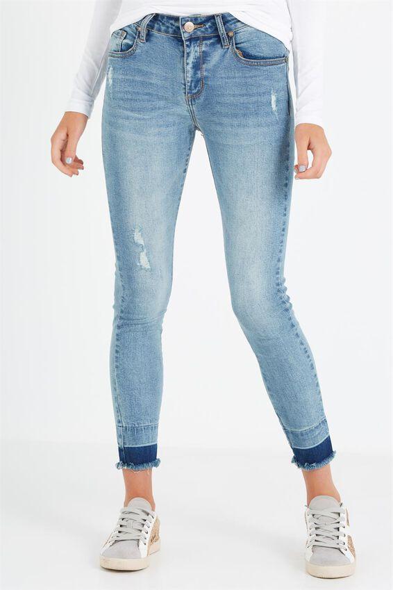 Mid Rise Grazer Skinny Jean, BLUE HAZE UNPICK HEM