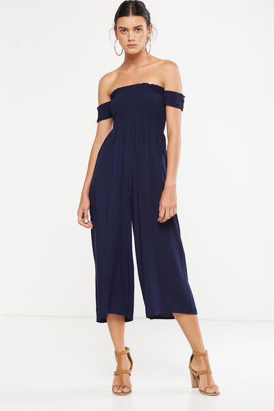 Woven Mazie Off The Shoulder Shirred Jumpsuit, MOONLIGHT