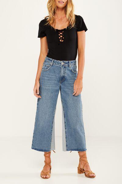 Mid Rise Wide Leg Crop Jean, INSERT PANEL BLUE