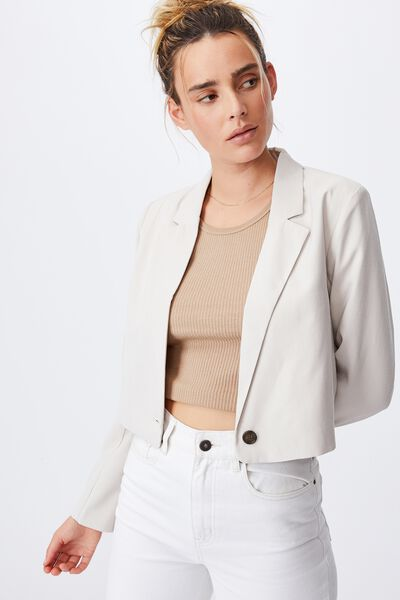 Ultimate Long Sleeve Crop Blazer, TAUPE