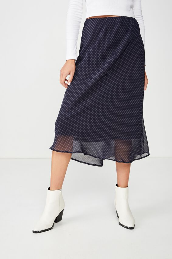 Woven Bella Bias Midi Skirt, ABBY GINGHAM NAVY