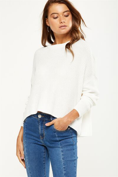 Archy Cropped Pullover, WINTER WHITE