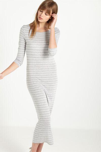 Trixie Long Sleeve 10 Maxi Dress, GREY MARLE/WHITE JULIE STRIPE