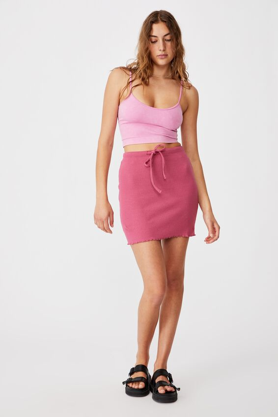 Streamline Ribbed Mini Skirt, MALAGA