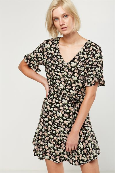 Woven Matina 3/4 Sleeve Dress, EDWINA FLORAL BLACK