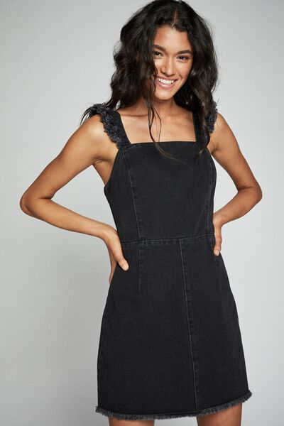 Denim Fray Edge Mini Dress, VINTAGE BLACK