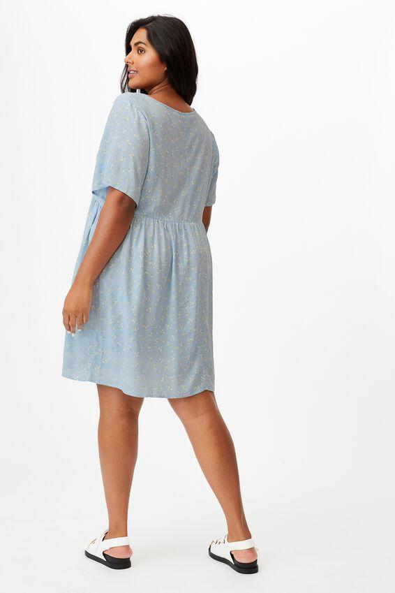 Curve Good Times Babydoll Mini Dress, RIDDLE DITSY DUSK BLUE