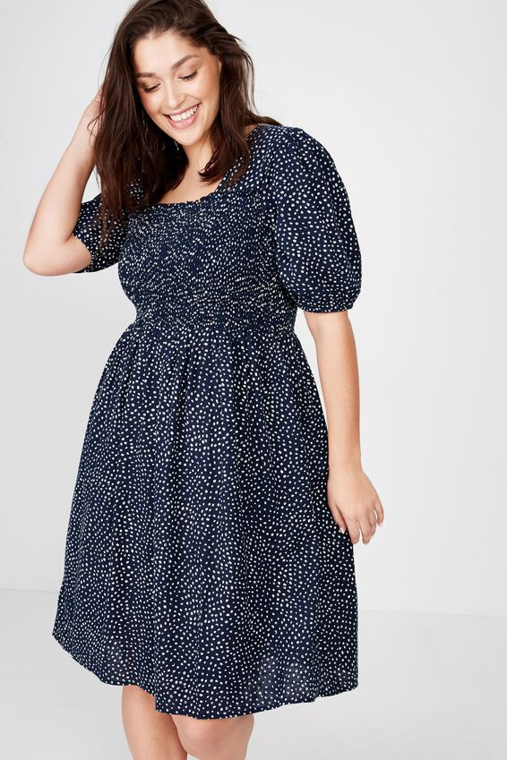 Curve Shirred Puff Sleeve Dress, ABIGAL SPOT TOTAL ECLIPSE