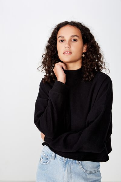 Brina Brushed Rib Mock Neck, BLACK