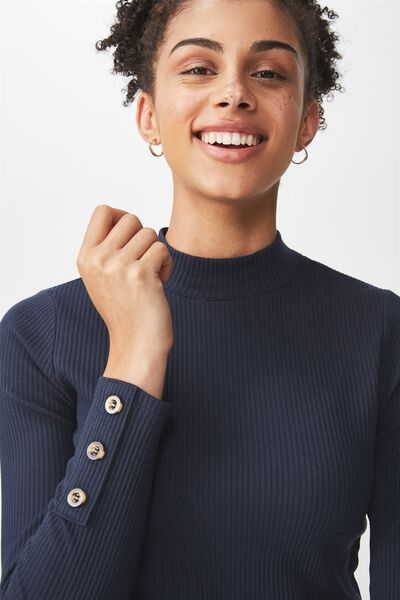 Letitia Button Detail Long Sleeve Top, MOONLIGHT