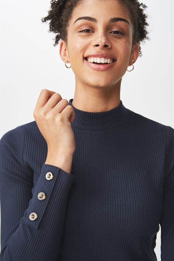Letitia Button Detail Long Sleeve Top, MOONLIGHT