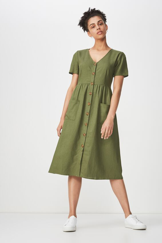 Woven Camila Button Through Midi Dress, SOFT KHAKI