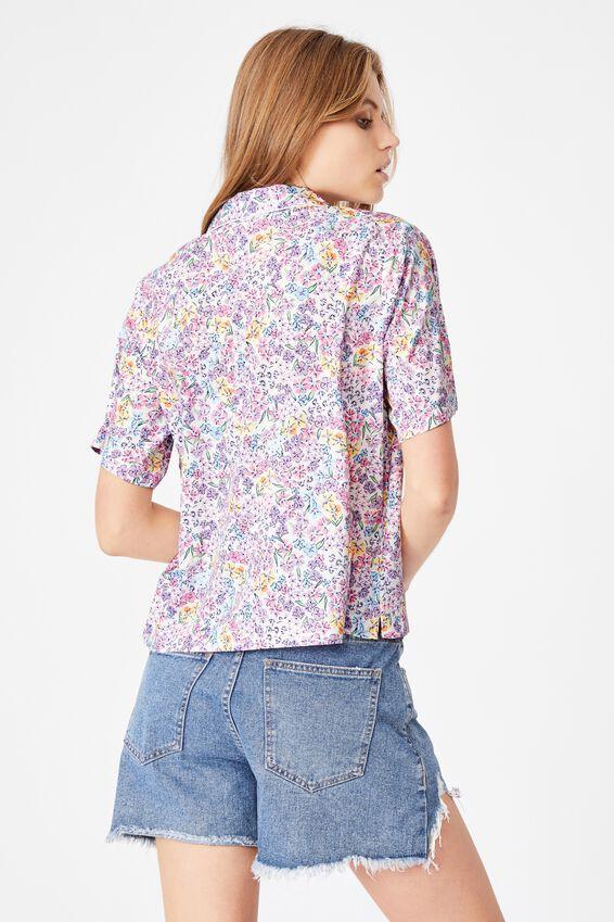 Capri Short Sleeve Shirt, EMILY FLORAL LILAC BLOSSOM