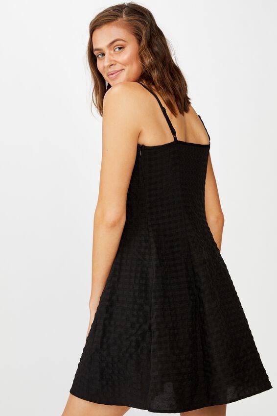 Woven Agnes Tie Front Mini Dress, BLACK