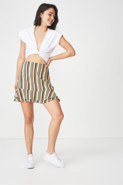 Woven Alana Mini Skirt, ASH STRIPE YELLOW