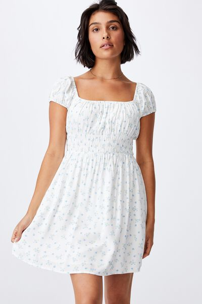 Woven Petite Frankie Puff Sleeve Shirred Fit And F, RIDDLE DITSY WHITE