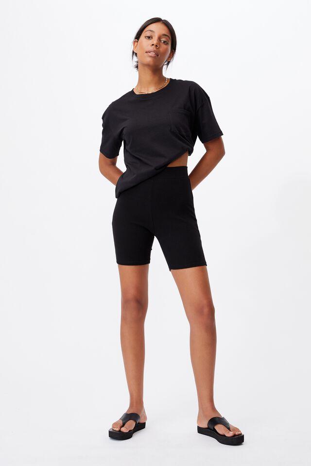 The Beverly Rib Bike Shorts, BLACK