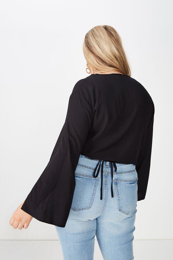Curve Woven Wrap Top, BLACK