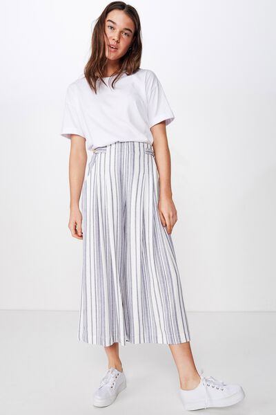 Luna Button Culotte, LIZZIE STRIPE CROWN BLUE