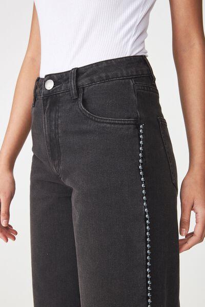 Mid Rise Wide Leg Crop Jean, BLACK BEDAZZLE