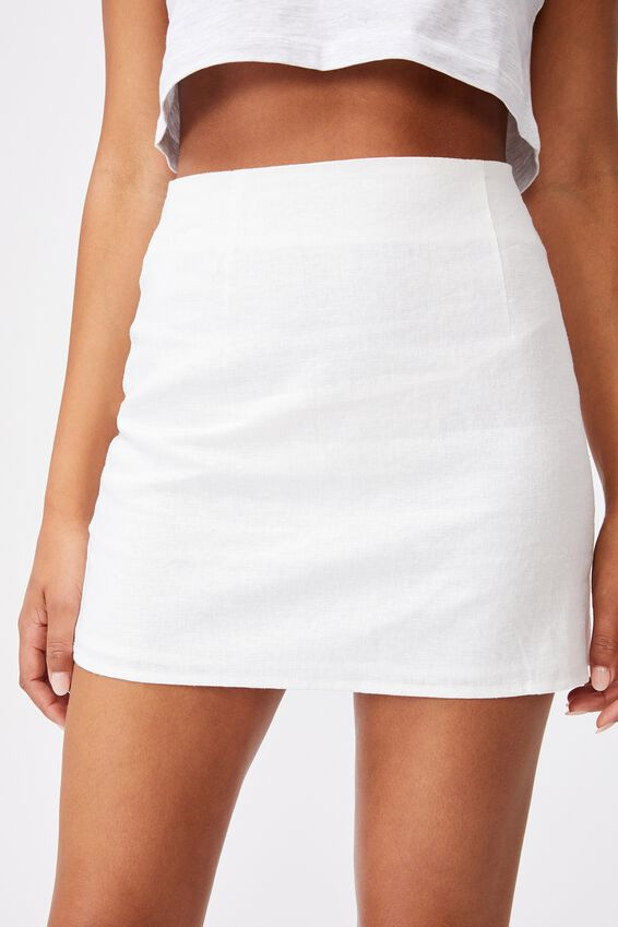 Ultimate A Line Mini Skirt, WHITE
