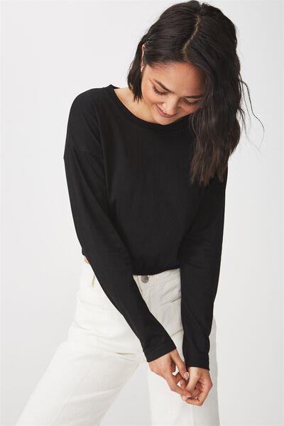 Iris Long Sleeve Waisted Top, BLACK