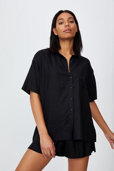 Dad Short Sleeve Shirt, BLACK