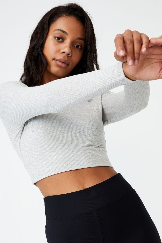 The Essential Crew Neck Long Sleeve, LIGHT GREY MARLE