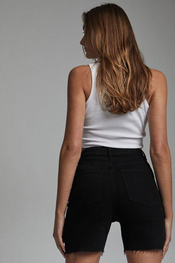 Stretch Slim Denim Bermuda Short, BLACK