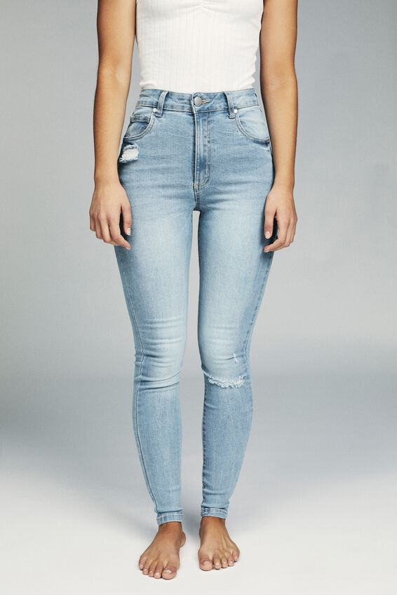 High Rise Skinny Jean, VALLEY MID BLUE RIPS