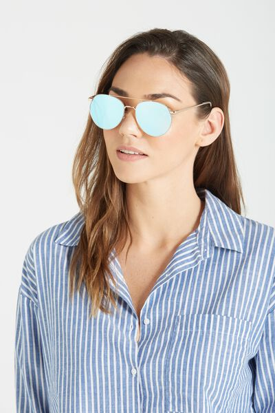 Sienna Metal Top Bar Sunglasses, GOLD/BLUE