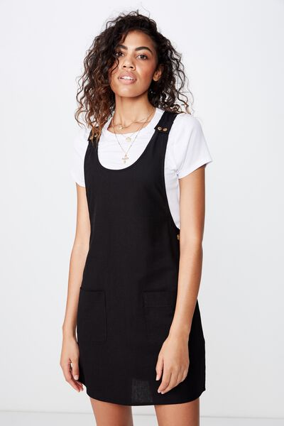 Woven Amy Utility Pinafore Dress, BLACK