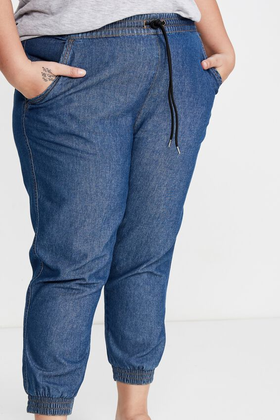 Curve Relaxed Shirred Pant, MID BLUE WASH