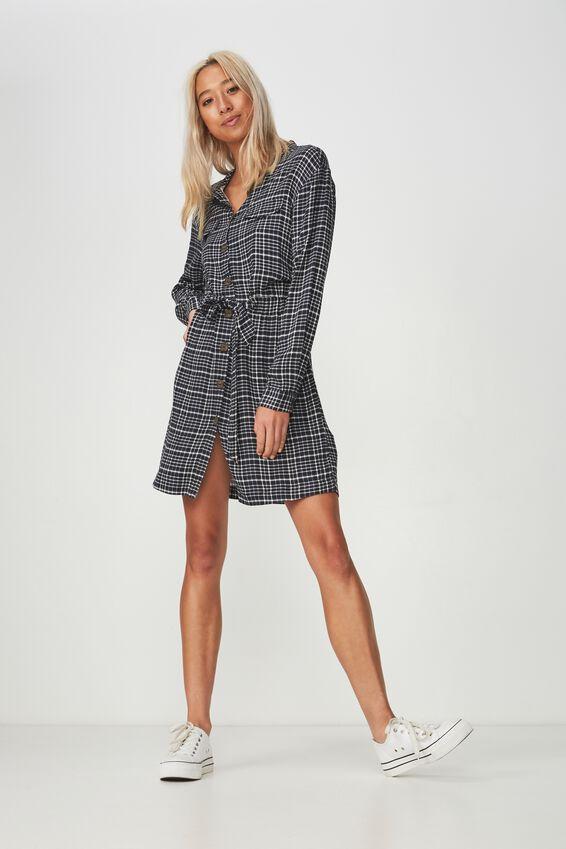 Woven Elle Long Sleeved Shirt Dress, NYLA CHECK NAVY