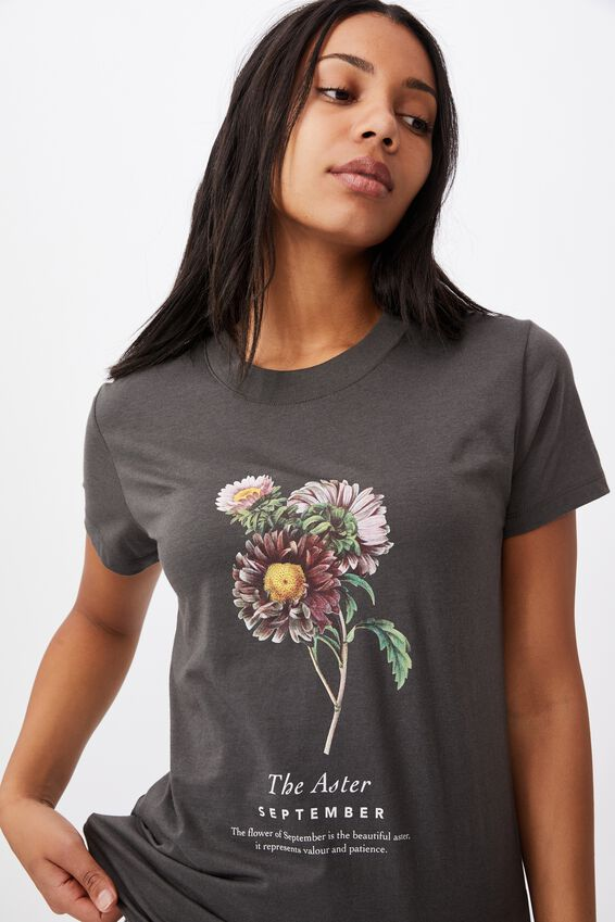 Classic Birthday Flower Graphic T Shirt, SEPTEMBER BIRTHFLOWER/SLATE GREY