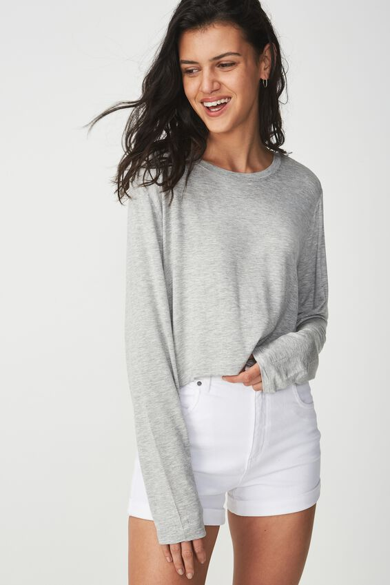 Baby Tee Long Sleeve, GREY MARLE
