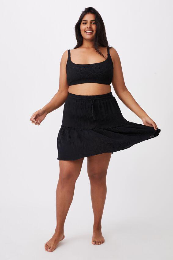 Curve Shirred Cropped Bralette Bikini, BLACK SHIRRED