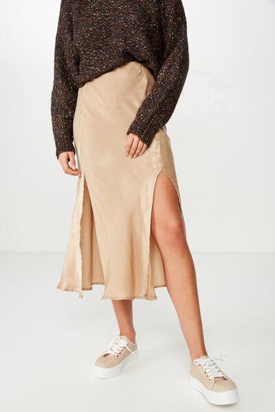 Woven Luna Bias Midi Skirt, TIGERS EYE