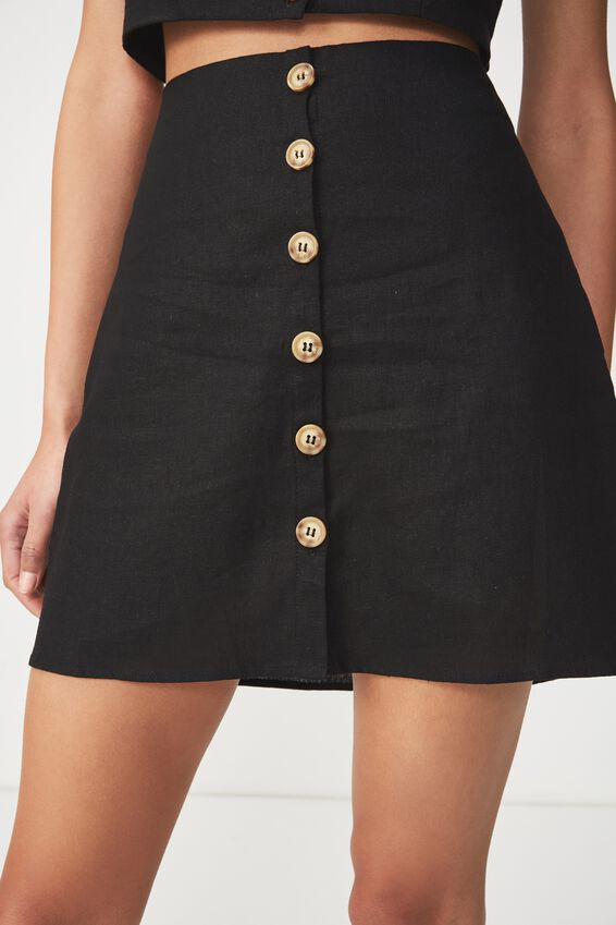 Woven Medina Mini Skirt, BLACK
