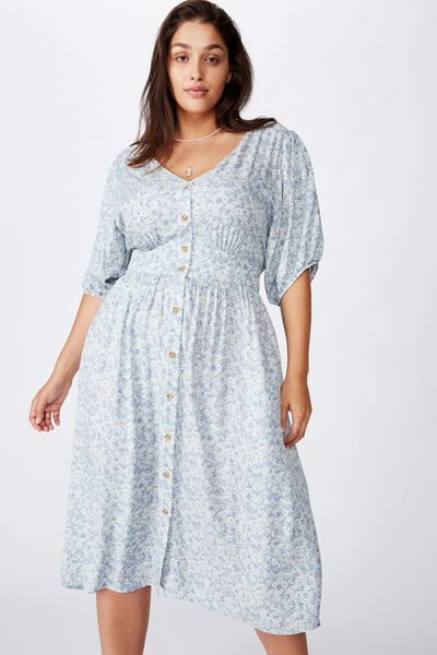 Curve Woven Chloe Puff Sleeve Midi Dress, STEPHANIE FLORAL COUNTRY BLUE