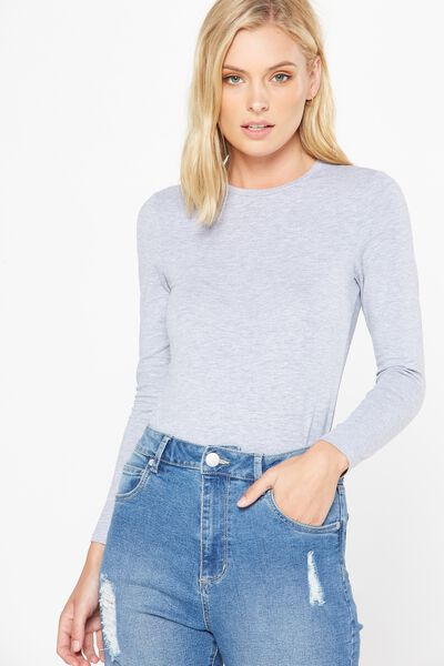 Basic Fitted Crew Long Sleeve Top, GREY MARLE