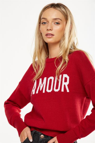 Tex Text Knit Pullover, AMOUR