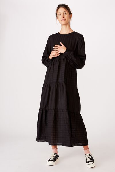 Woven Rebeka Tiered Maxi Dress, BLACK